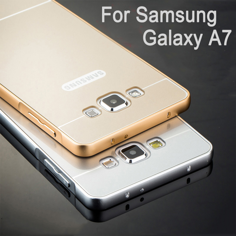 new product 05388 7c5e0 US $4.96 |Luxury Aluminum Case for Samsung Galaxy A7 (2015) A7000 Coque  Ultra Thin Full Protective Metal Frame + Acrylic Back Cover Fundas on ...