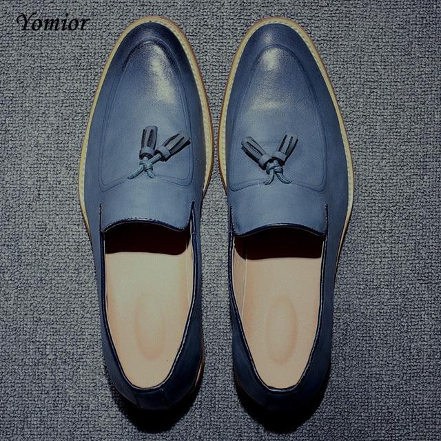 c63694b69 Yomior Брендовые мужские острый носок платье свадебные туфли известный кисточкой  обувь мужской мужские туфли модные Туфли