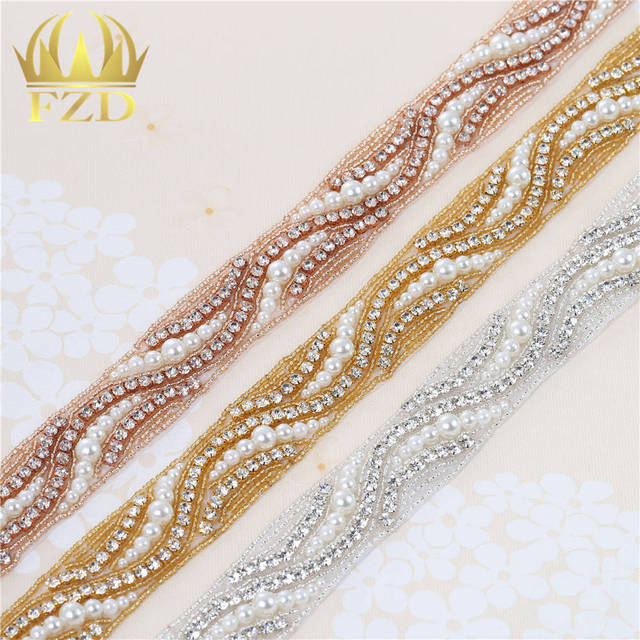(10 yards)Hot fix Iron On Sewing Wholesale Bridal Wedding Dresses Pearl Beaded  Rhinestone 22a0950aee55
