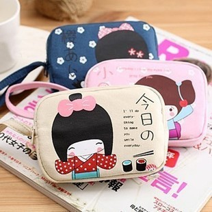 Min. Order is $10 ( Can Mix order ) ! Girls double zipper fabric coin purse coin case mobile phone bag