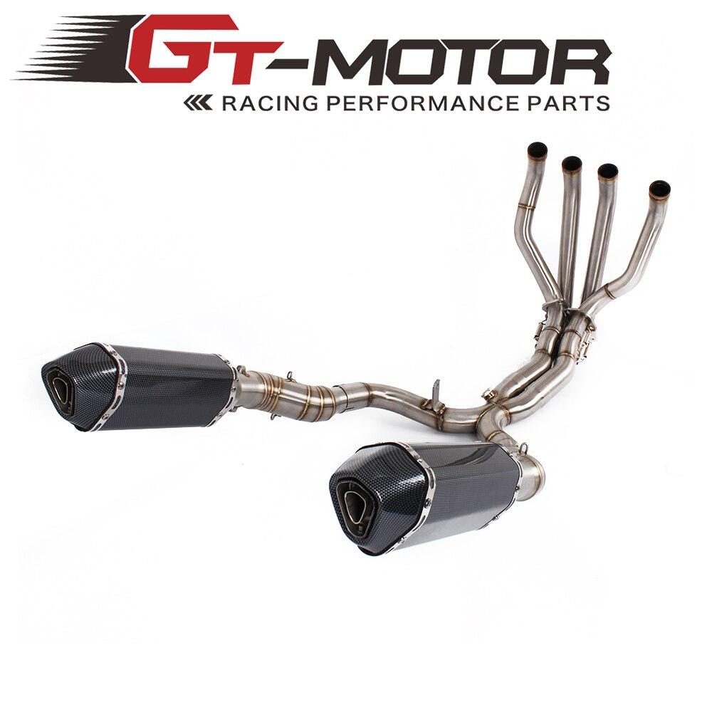 GT Motore-sistema di tubazioni di Scarico centrale PER KAWASAKI Z1000 2010-2016 con Silenziatore Slip-On