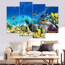 Undersea World Coral And Colorful Fishes Painting 4 Piece Style Picture Canvas Print Type Modern Home Decor Wall Artwork Poster undersea fishes stair riser stickers