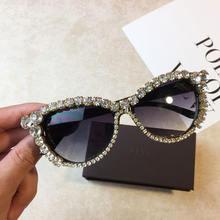 Модные женские блестящие солнцезащитные очки кошачий глаз с