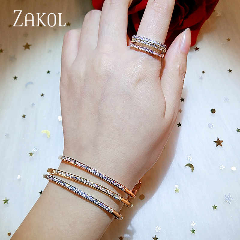 ZAKOL Top Bracelet & Bangle for Women Captivate Bar Slider Brilliant CZ Rose Gold Color Jewelry Pulseira Feminia FSBP2021
