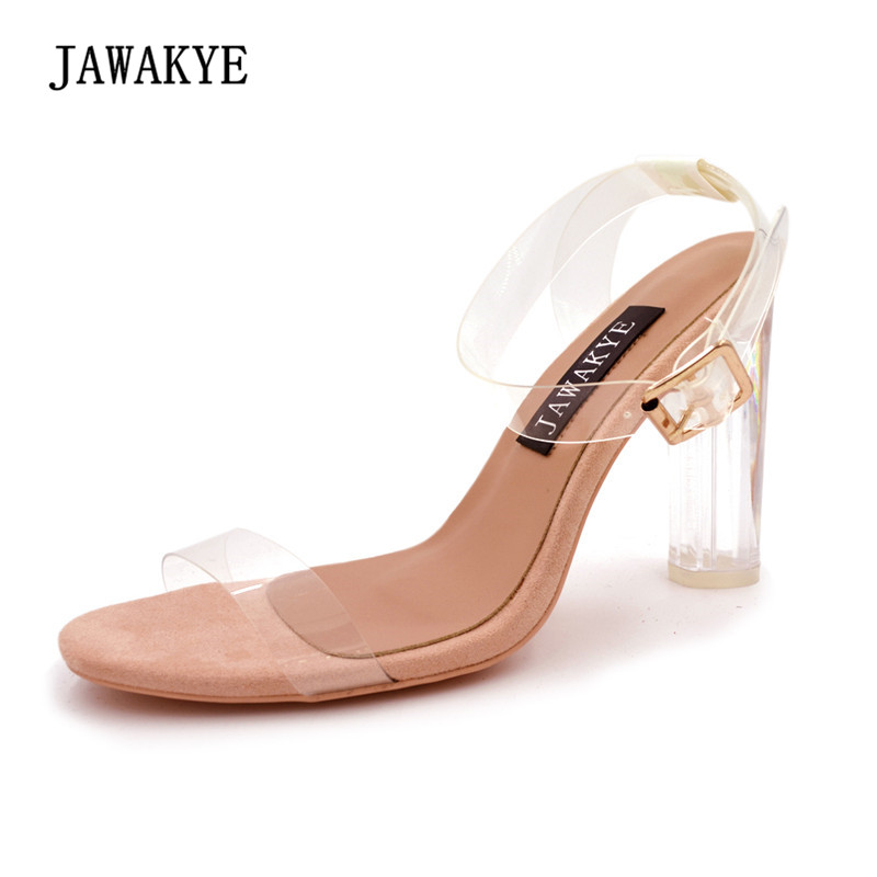 2018 PVC Clear Gladiator Sandals Woman Open Toe Ankle Strap Transparent Crystal High Heel Shoes Women Summer Party Shoes JAWAKYE new women gladiator sandals ladies pumps high heels shoes woman clear transparent t strap party wedding dress thick crystal heel