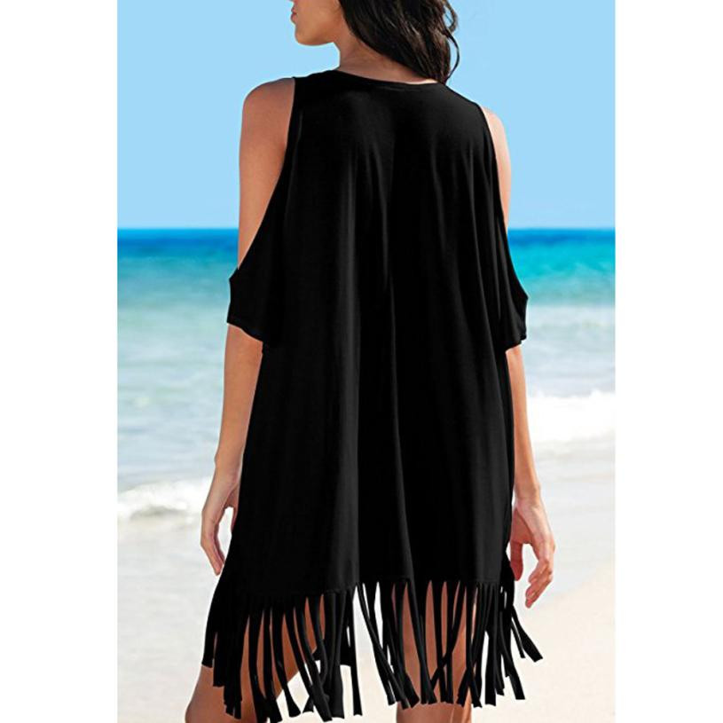 506420043c77b Womens Tassel Letters Print Baggy Swimwear Bikini Cover UPS Beach tee shirt  femme sexy top female summer-in T-Shirts from Women s Clothing on  Aliexpress.com ...
