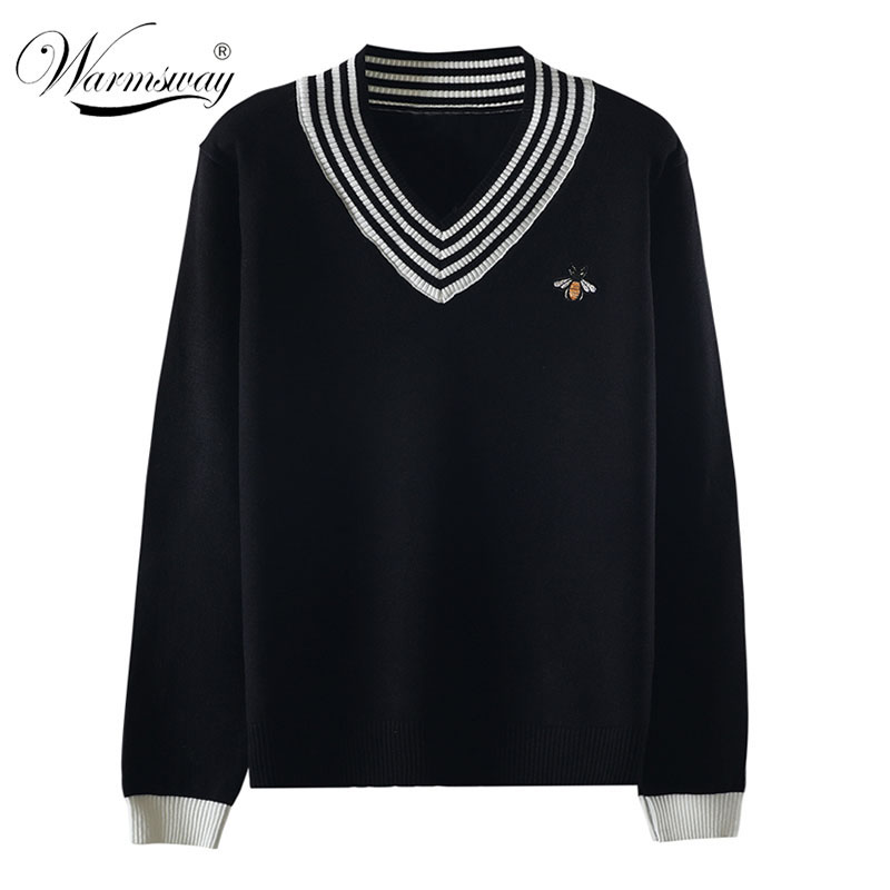 European Style Spring Autumn Women Bee Embroidery Sweater Elegant V-neck Knitted Loose Striped Long Sleeve Pullover  C-425