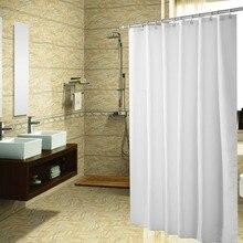 High Grade Plain Polyester Waterproof Shower Curtain Bathroom Partition White Black Light