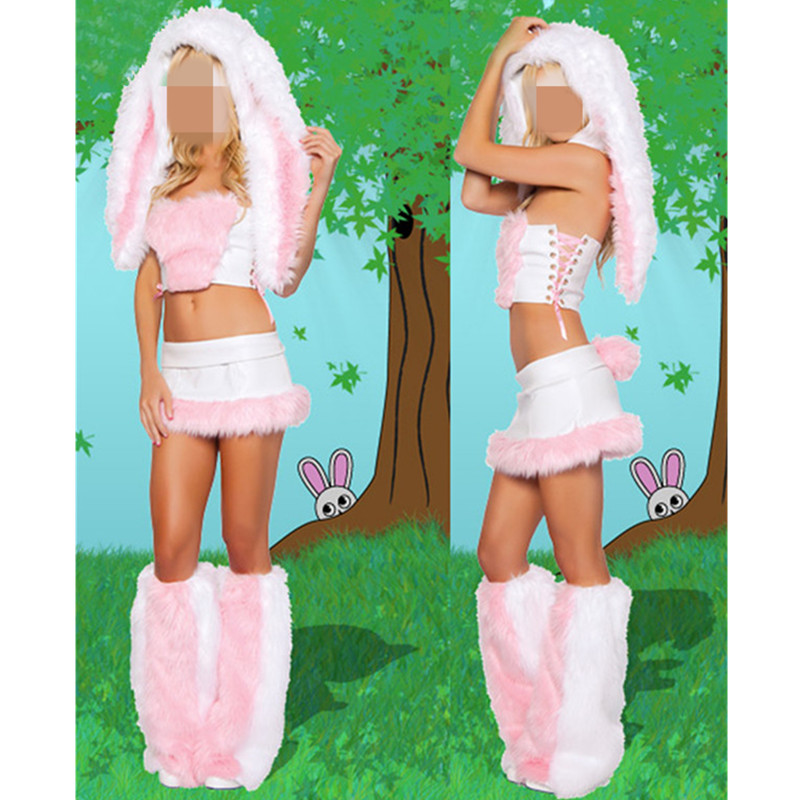 New Fashion <font><b>Sexy</b></font> Pink <font><b>Bunny</b></font> <font><b>Costumes</b></font> <font><b>For</b></font> <font><b>Women</b></font> <font><b>Halloween</b></font> Carnival Rabbit Cosplay <font><b>Sexy</b></font> Christmas Exotic Apparel Lingerie image