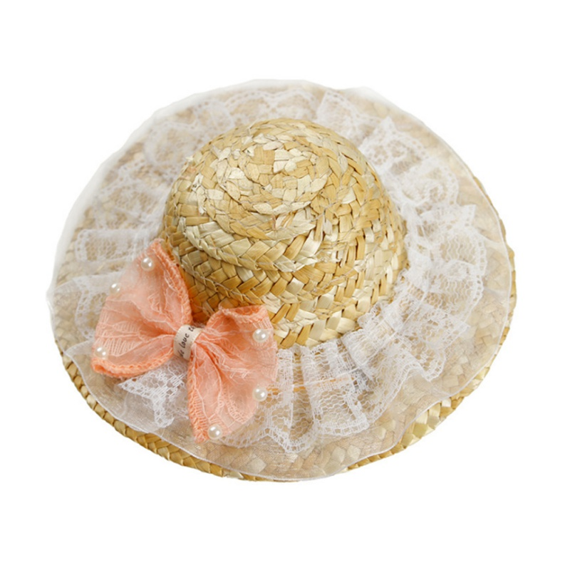 Summer Big Bow Pet Cat Cool Straw Hat Sun Hats Puppy Supplies Hawaii Style Accessories Dogs Cats Caps