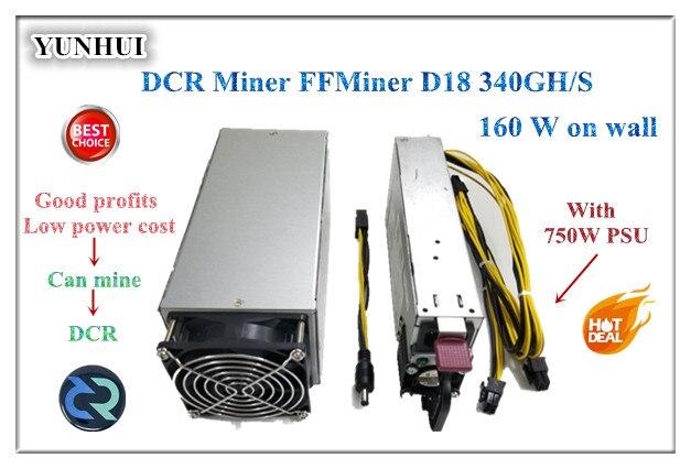 Nave rápida FFMiner D18 340GH/S 160 W mini y bajo ruido rentabilidad es superior Innosilicon d9 para DCR 56DB (con PSU)
