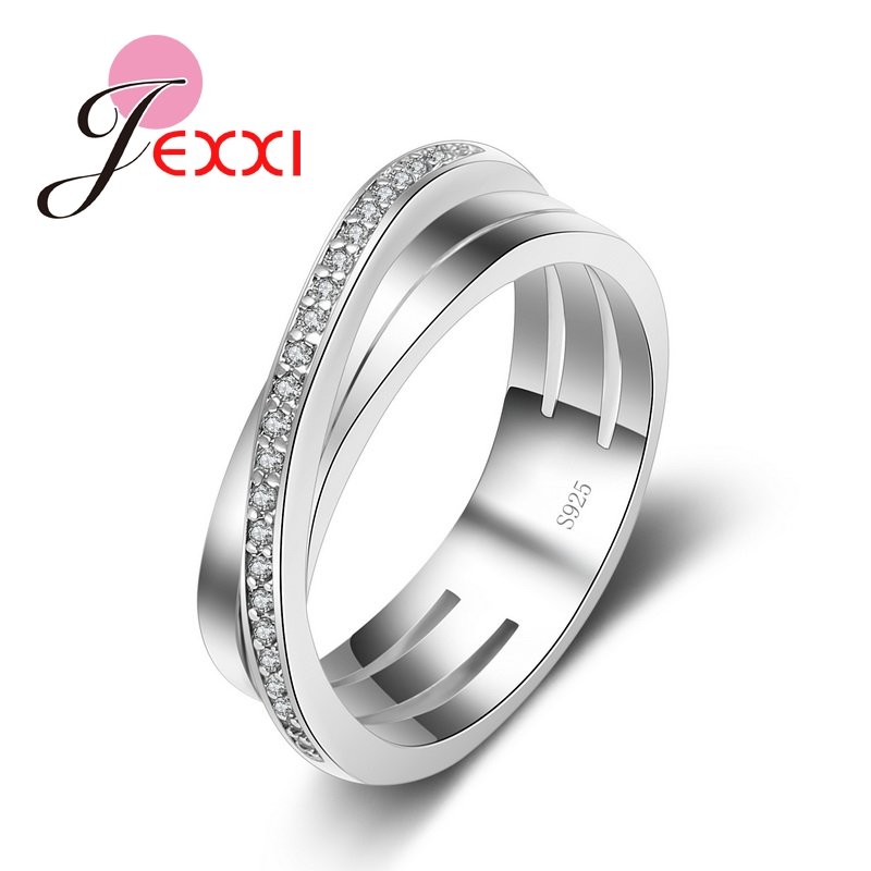JEXXI New Arrival Fashion Cross Cubic Zircon Ring Wedding Jewelry Top Quality 925 Sterling Silver Rings Women Accessories