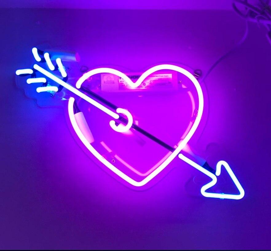 مخصص كيوبيد السهم المحبة الحب زجاج ضوء النيون تسجيل البيرة بار