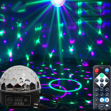 DJ 9 Color LED Sound Activated Party Light Rotating Laser Projector Lamp DMX Control Crystal Magic Ball Disco Light Strobe