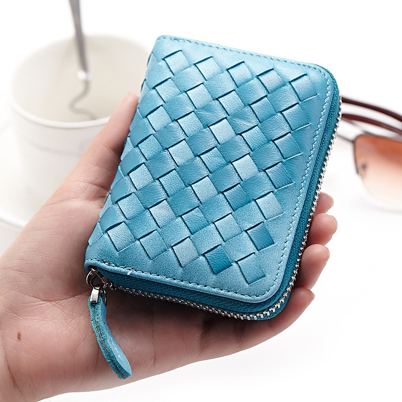 High-grade Real Leather Sheepskin Organ Card Holder Zipper Multi-card Bags For Men Women Wholesale Woven Change Card Wallet Case