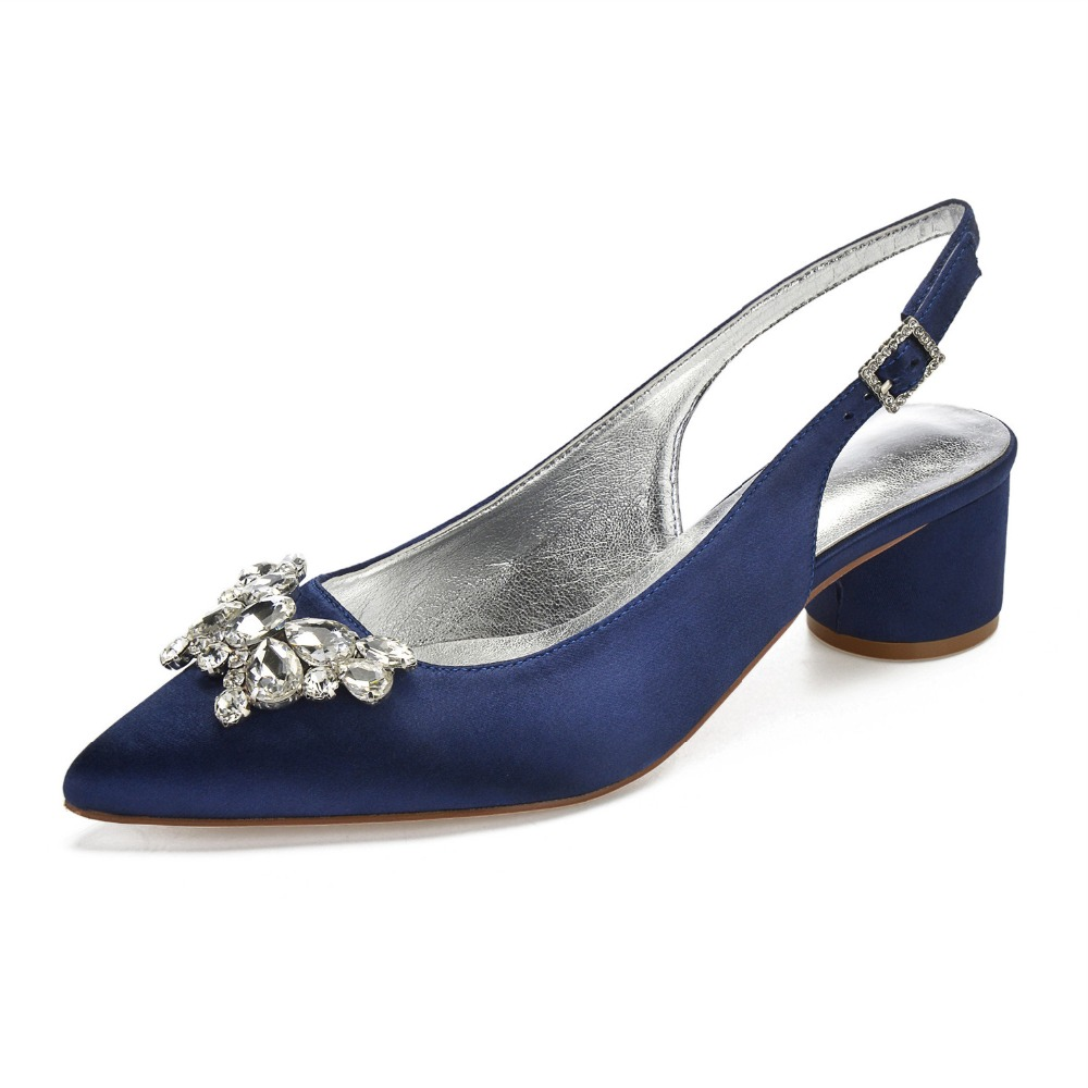 Pointed toe 3D butterfly crystal brooch satin lady evening dress shoes slingback thick block heels bridal wedding party ballPointed toe 3D butterfly crystal brooch satin lady evening dress shoes slingback thick block heels bridal wedding party ball
