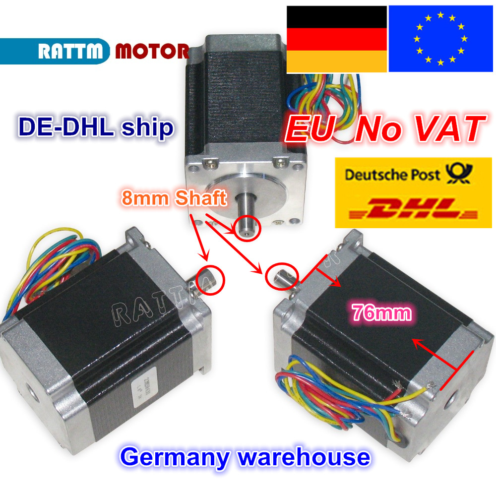 DE ship/free VAT 3PCS NEMA23 76mm/270 Oz-in/ 3A 1.8Nm CNC stepper motor stepping motor CNC machnine 3D printer free ship 3pcs dual shaft nema 23 stepper motor 1 89n m 268oz in 76mm 3a direct selling