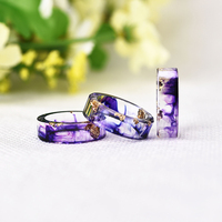 LIEBE ENGEL Hot Sale 8 Colors Gold Foil Paper Inside Resin Ring For Women And Men Jewelry Colorful High Quality Handmade Ring 1