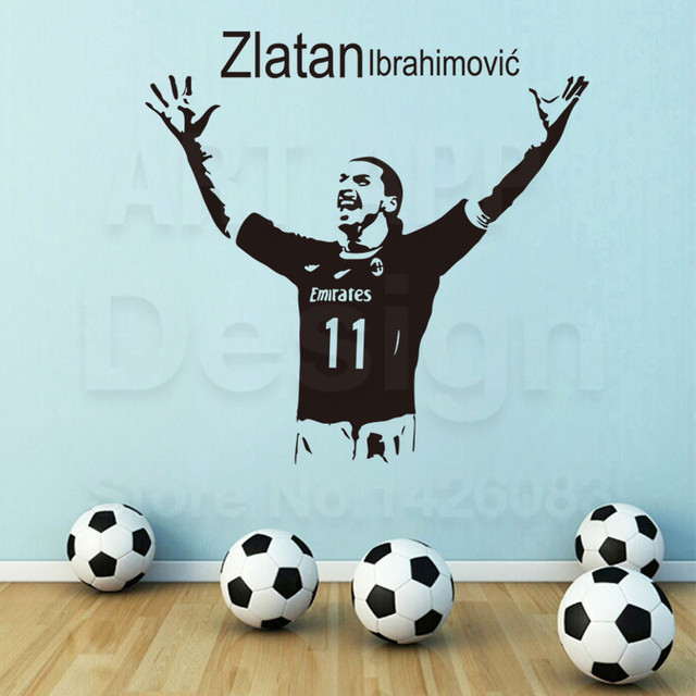 art design cheap vinyl home decoration football zlatan wall sticker