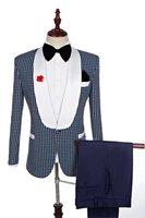 Custom Made Groomsmen Shawl White Lapel Groom Tuxedos Navy Blue Men Suits Wedding Best Man (Jacket+Pants+Tie+Hankerchief)