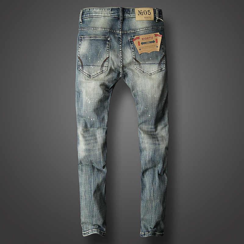 2018 модные мужские джинсы высокого качества светлые рваные зауженные джинсы хлопковые длинные брюки брендовые дизайнерские классические мужские джинсы