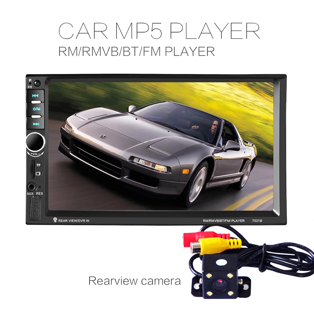 7021B 7Inch LCD HD Double DIN Car In-Dash Touch Screen Bluetooth Car Stereo FM MP3 MP5 Radio Player with Wireless Remote Control reakosound 7 inch lcd hd double din car in dash touch screen bluetooth car stereo fm mp5 radio player