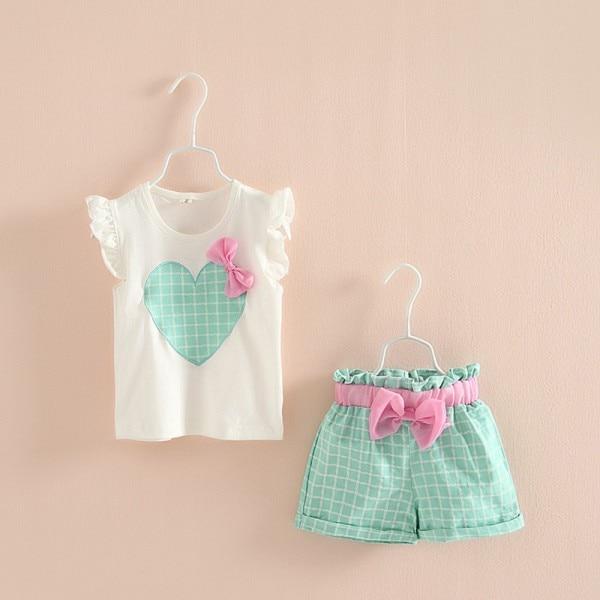 Lovely Kids Girls Ruffled Heart Bow Tops T Shirt+Plaid Short Pants Outfits