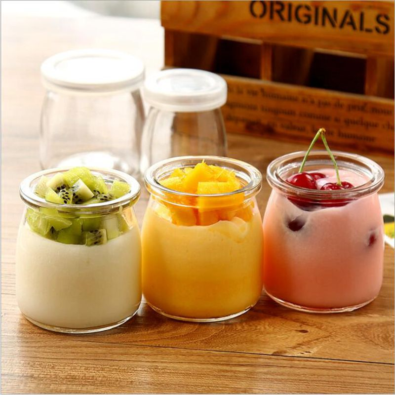 Heat-resistant Transparent Glass Bottle Household Drinking Milk Cup With Lid Mug Jelly Mousse Cup Pudding Yogurt Bottle Jar