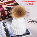 Autumn Winter Women Cap Real Raccoon fur ball hat Pom poms 15CM knitted cap female thick protect ear warm Lady Beanies Headgear