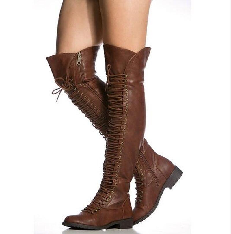 Femmes hiver nouveau mode bottes à lacets en cuir sur le genou bottes plates marron noir fermeture à glissière longue bottes de chevalier bottes chaudes de haute qualité - 2