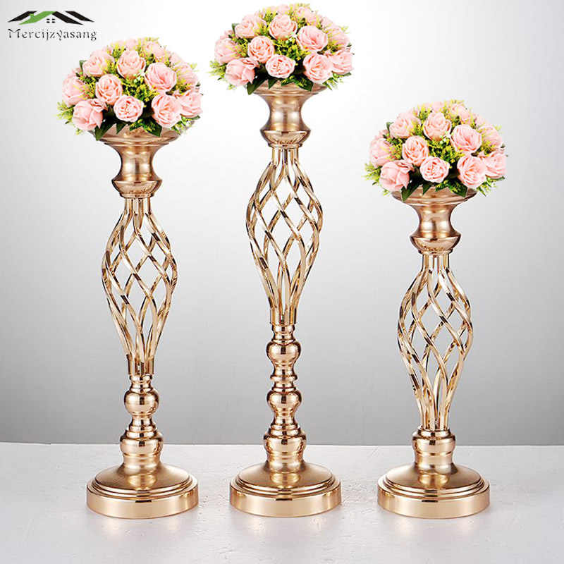 Gold Flowers Vases Candle Holders Road Lead Table Centerpiece Metal Stand Pillar Candlestick For Wedding Party Candelabra 59
