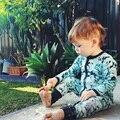 Designer Climing Recém-nascidos Roupas 2016 Novos Meninos Moda Deixa a Impressão de Algodão-acolchoado Macacão de Alta Qualidade Traje Infantil