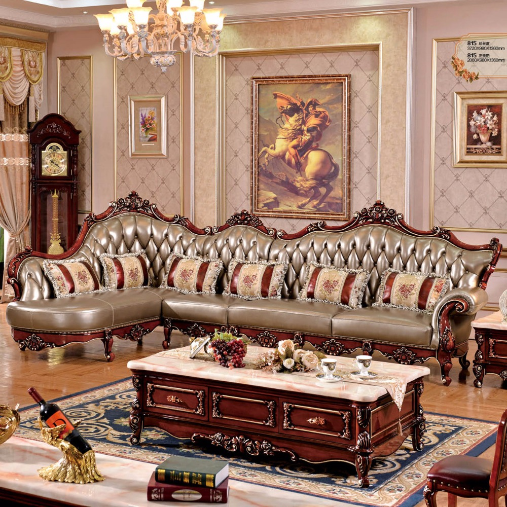 l shaped sofa solid wood carving antique leather sofa living room sofa
