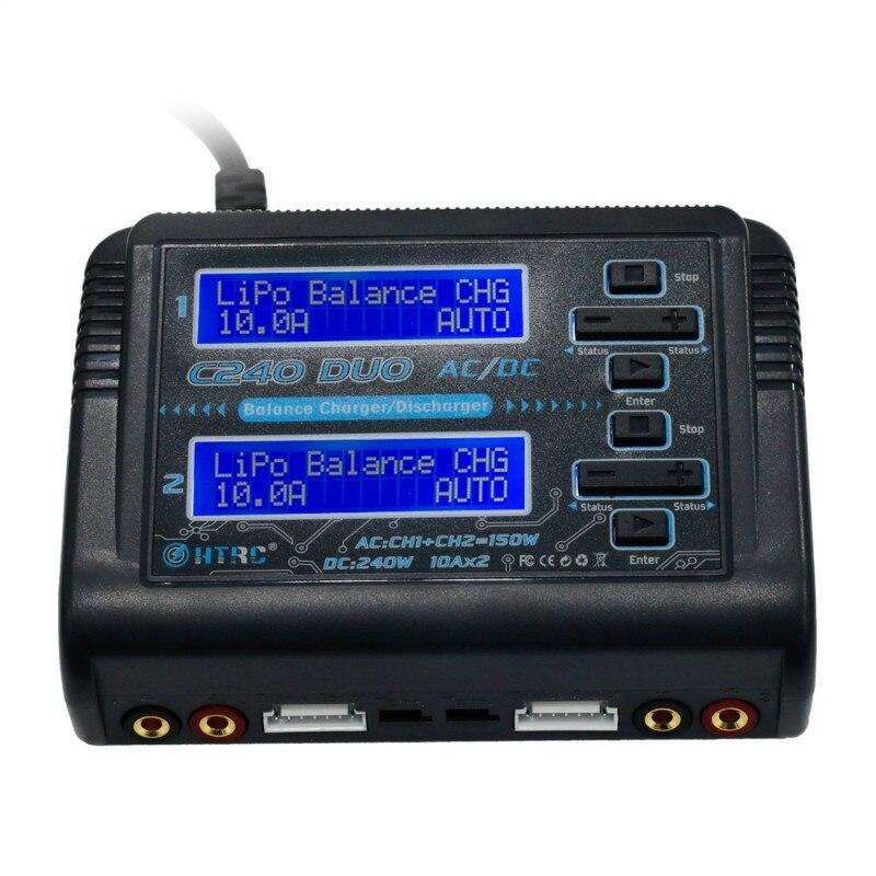 HTRC C240 DUO AC 150 W DC 240 W 10Ax2 double canal RC LiPo batterie Balance chargeur livraison gratuite