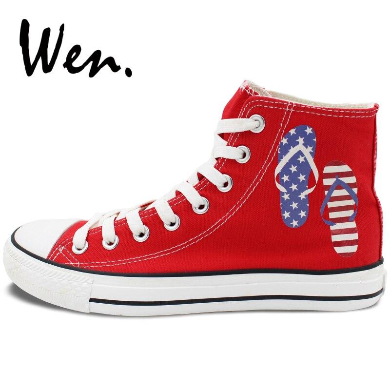 Wen chaussures en toile rouge Design tongs fête de l'indépendance américaine hommes femmes baskets hautes Plimsolls anniversaire cadeaux de noël - 3