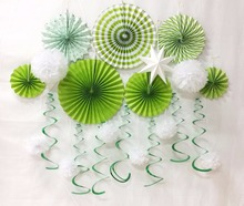 Summer Party Decoration Green supplies Paper Fans Pompoms Stars For Birthday Wedding Festival 12 Pieces