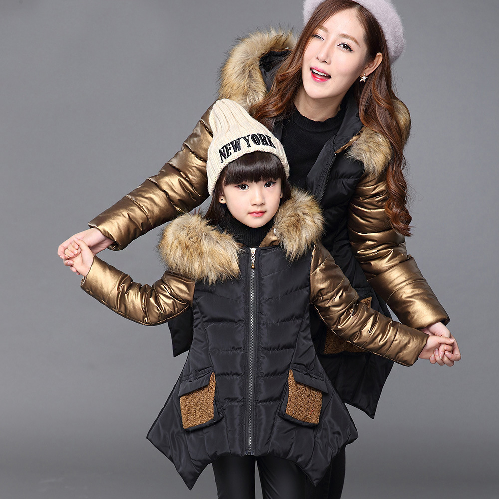 Fashion Winter Thicken Warm Cotton Child Coat Children Outerwear Patchwork Fur Collar Baby Girls Jackets For 2 14 Years Old-in Down & Parkas from Mother & Kids