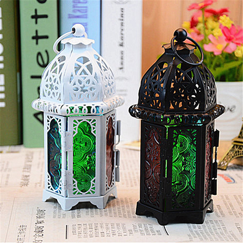 Vintage Metal Hollow Candle Holder Color Glass Crystal Moroccan Candlestick Hanging Lantern Wedding Party Home Decor image