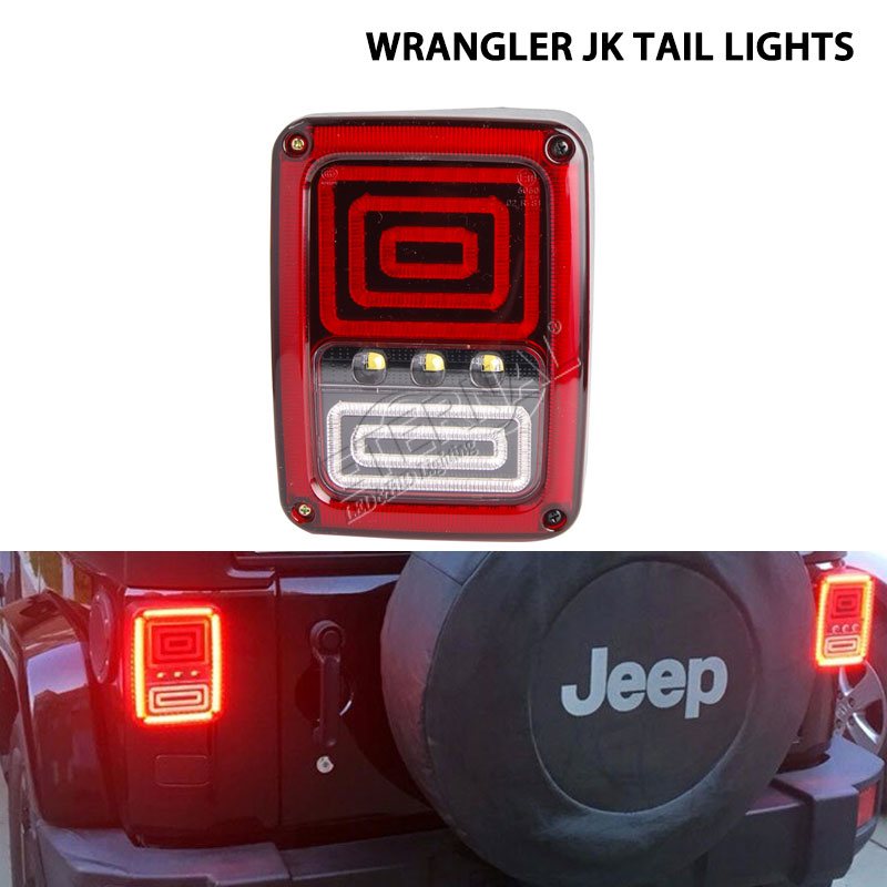 free shipping 2pcs LED tail light with high output low consumption brake turn signal reverse DRL lamp for 4x4 off-road JK 07-15 2pcs brand new high quality superb error free 5050 smd 360 degrees led backup reverse light bulbs t15 for jeep grand cherokee