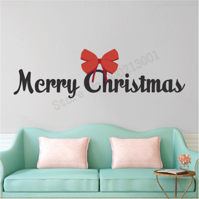Wall Decoration Merry Christmas Room Sticker Vinyl Art Removeable Poster Bow Mural Beauty Ornament Fashion Words Decal LY582 in Wall Stickers from Home Garden