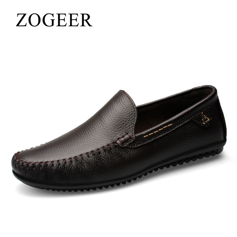 ZOGEER Big Size 36-47 Fashion Brand Casual Shoes, Men Genuine Leather Slip On Men Loafers Shoes, 2018 Spring Mens Flats Dad Shoe mens casual leather shoes hot sale spring autumn men fashion slip on genuine leather shoes man low top light flats sapatos hot