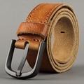 Masculino pulseira de couro genuíno pin fivela genuína correia de couro do vintage feitos à mão cinto jeans casual masculino