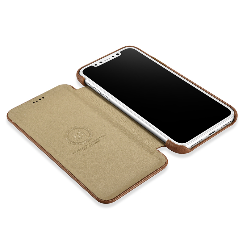 icarer for iPhone Apple X Case Curved Screen Flip Cover for iPhone XS Skin Genuine Leather Cowhide Shockproof Back Phone Case (18)