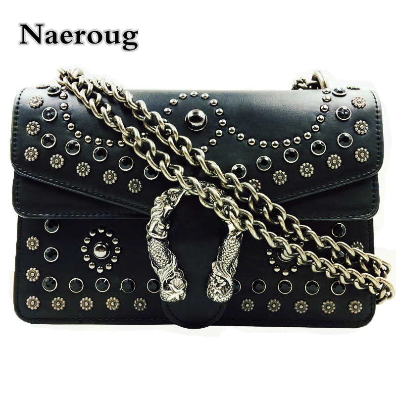 Luxury Handbag Women Bags Designer Fashion Chain Messenger Bag Leather Shoulder Crossbody Bag Rivet Clutch Purse Famous Designer 2017 luxury handbags black women bags designer women s bag rivet chain messenger shoulder bags female skull clutch famous brand