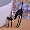 Enamel Cat Brooch Pins Long Legs Black Cats Brooches For Wedding Bouquets Kawaii Bow Tie Animal Corsage Halloween Gifts Pin Up