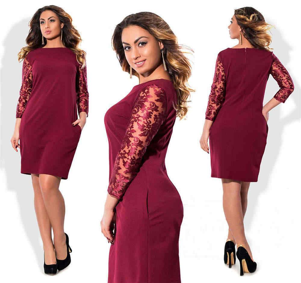 ca6f76bbd9c Красное женское кружевное элегантное платье 6XL плюс размер весна осень  платья мода офисвечерние с круглым вырезом