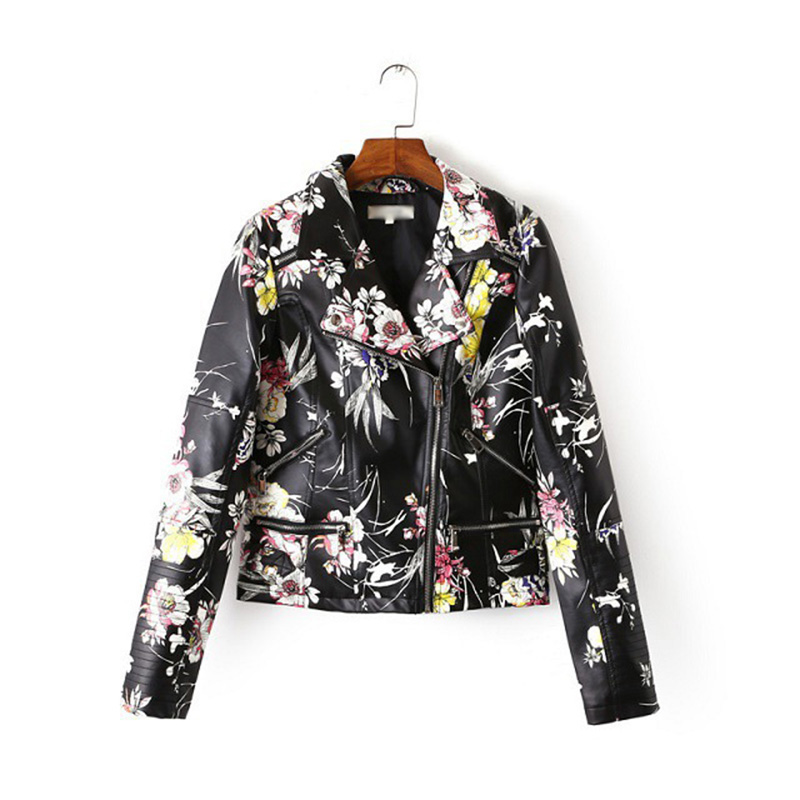 Fashion Print PU   Leather   Jacket Europe Style 2019 Slim Short Streetwear Women Faux   Leather   Motorcycle Jacket Punk Black Coat