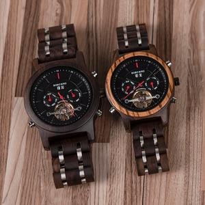 Image 5 - BOBO BIRD montre bracelet mécanique en bois pour hommes, affichage de dates, de luxe, noir, C Q27