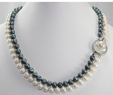 Women Gift Freshwater 3 rows 7 8mm natural black pearl freshwater cultured necklace round beads diy special design women jewelry