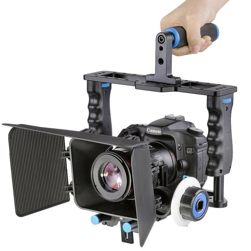 лучшая цена YELANGU Professional Aluminum Alloy Protective DSLR Camera Cage Stabilizer Metal Top Handle Matte Box & Follow Focus DSLR Camera